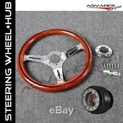 Fit 350MM Wood Grain Steering Wheel Black Trim 6 Hole Hub Adapter VW Beetle Golf