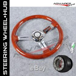Fit Wooden Steering Wheel 350MM Wood Grain 6Hole Hub Adapter Honda Civic Integra
