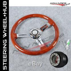 Fit Wooden Steering Wheel 35CM Wood Grain 6Hole Hub Adapter Accord Prelude Vigor