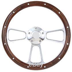 Ford F1 F100 F150 F250 Pick Up Truck Wood & BIllet Steering Wheel, Boss Kit