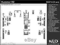 Hummer H2 Wood Dash Kit. Fits 2003-2007 Includes 31 Pcs With Door Panels