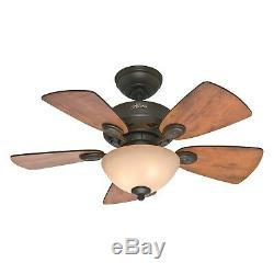 Hunter 34 New Bronze Ceiling Fan with Cabin Home/Walnut Blades & Light Kit