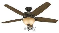 Hunter 56 Ceiling Fan with a Bowl Light Kit and Toffee Glass in New Bronze
