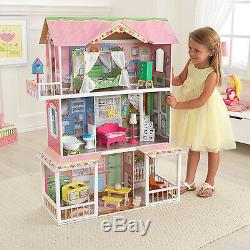 KidKraft Sweet Savannah Wooden Pretend Play House Doll Dollhouse with Furniture