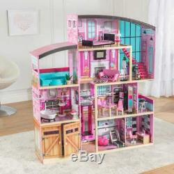 Kidkraft Shimmer Mansion Dollhouse Wooden Dollhouse Fits Barbie Sized Dolls
