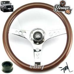 Land Rover Defender Classic Wood Rim Steering Wheel 48 Spline Boss Kit & Horn