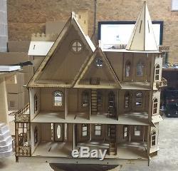 Leon Gothic Victorian Mansion Dollhouse Half inch / 124 scale Kit