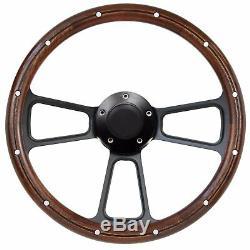Mahogany & Billet Steering Wheel Kit Ford Ranchero 1965 1966 1967 1968 1969