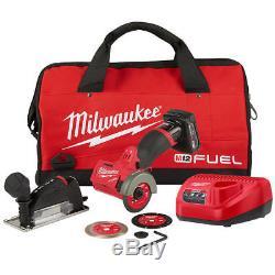 Milwaukee M12 FUEL 2522-21XC 12-Volt 3-Inch 4.0Ah Cordless Cut Off Tool Kit