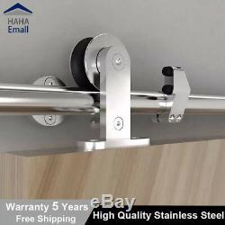Modern Stainless Steel Sliding Barn Wood Door Hardware Track Kit T-Shape Rollers