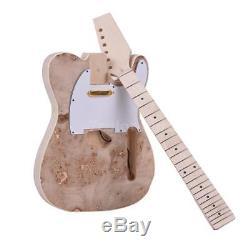 Muslady Unfinished Guitar DIY Kit Basswood Body Burl Surface Maple Wood New