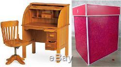 NEW American Girl Doll KIT SCHOOL DESK & SWIVEL CHAIR Wooden Office Rolltop BOX