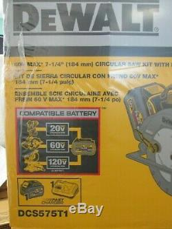 New! DeWalt FLEXVOLT 60V Max 7-1/4 Circular Saw Kit withBrake (DCS575T1) 5434
