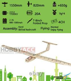 RC Plane Balsawood Airplane Kit Wingspan Electric 155CM Glider KIT Griffin Model