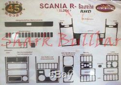 RHD Scania R Series 2004 Onwards Dash Trim Kit 3M 3D Wood Effect 45-Parts