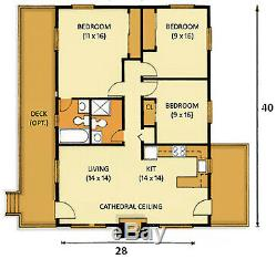 Southridge II 28 x 40 Customizable Shell Kit Home, delivered ready to build