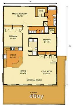 Steamboat Springs 38 x 56 Customizable Shell Kit Home, delivered ready to build