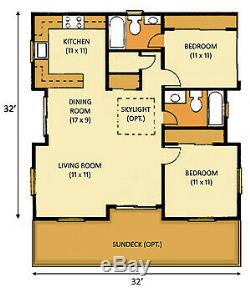 Sunset II 32 x 32 Customizable Shell Kit Home, delivered ready to build