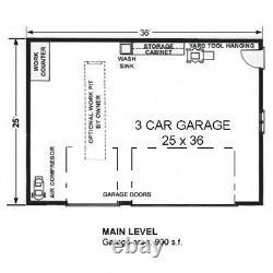 The Carlsbad 25x36 Garage Customizable Shell Kit Barn-dominium, ready to build