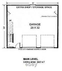 The Samoa 28x32 Garage Customizable Shell Kit Barn-dominium, ready to build