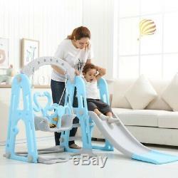 US Toddler Indoor/Outdoor playground Set Swing Slide Set & Backyard Baskets Kit