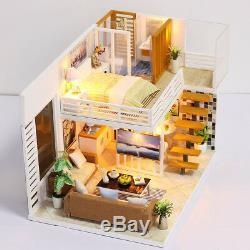 US Toy Dollhouse Miniature Furniture DIY Kit Wood Cottage LED Christmas Gift USA