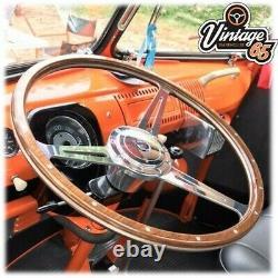 VW T2 T3 T25 T4 Van Camper Wood Rim 17 Wolfsburg Crest Steering Wheel Upgrade