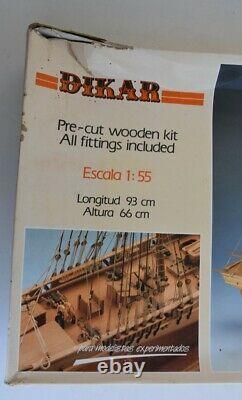 Vintage Dikar Lawrence American Brig Ship 155 Scale Wood Ship Model Kit New