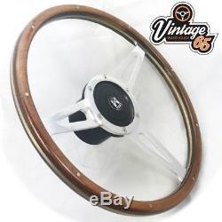 Vw T2 Camper Bay 17 Wood Rim Riveted Polished Slotted Steering & Wheel Boss Kit