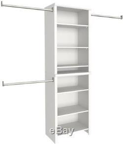 White Laminate Wood Closet Kit 8 Shelves 3 Clothing Rod Organizer Dresser Home