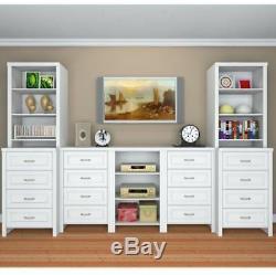 Wood Closet Systems, 8-Shelves 25 in. White Clothes Storage, Closet Organizer Kit