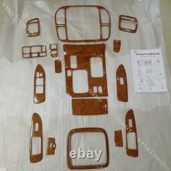 Wood Grain Dash Trim Kit Fit For Toyota Land cruiser LC100 AT 4500 4700 1998-02
