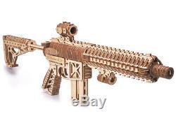 Wood Trick Assault Gun AR-T Rifle Mechanical Wooden 3D Puzzle Model DIY Kit Gift