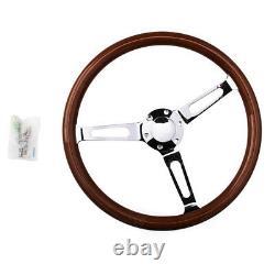 Wooden Grain Silver Brushed Spoke Steering Wheel classic Wood + Horn Kit 15inch
