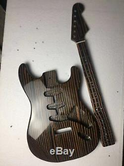 Zebra wood electric guitar body and neck guitar kit 25.5 scale length